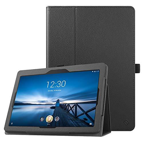 Fintie Hülle kompatibel für Lenovo Tab E10 - Folio Kunstleder Schutzhülle mit Standfunktion für Lenovo Tab E10 10,1 Zoll Tablet 2019, Schwarz