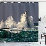 Aliyz Serie Decorazioni Il Faro Italia Sardegna Faro Spruzzi Surf Luogo d'Interesse Immagine Bagno Tenda Doccia Durevole Impermeabile Facile Pulire Doccia Bagno Hotel