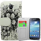 Accessory Master Custodia Libro Portafoglio Bianca/Nera in pu Pelle per Samsung Galaxy S4 Mini i9190 - Fiori
