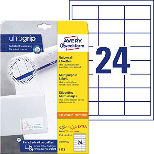 Avery Zweckform 6172 Adressaufkleber (mit ultragrip, 64,6 x 33,8 mm auf DIN A4, Papier matt, bedruckbare, selbstklebende Adressetiketten, 720 Klebeetiketten auf 30 Blatt) weiß (Avery Adressetiketten Inkjet)
