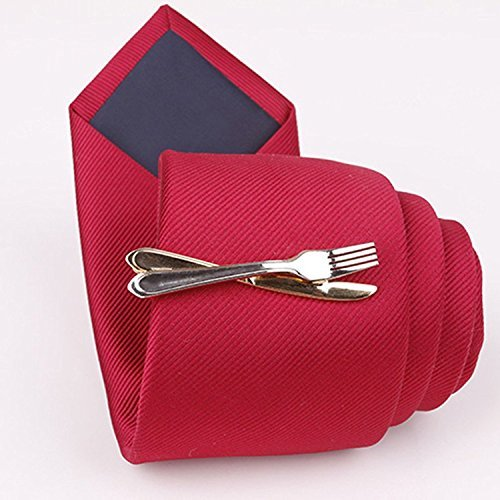 Spoon Fork Knife Tie Clip Foodie Chef Clasp Bar Cook Gift Utensils Cooking