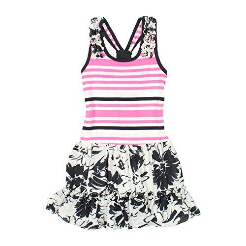4907c64e3991 Jona Michelle Mädchen A-Linie Kleid Mehrfarbig Multicoloured Black, Hot  Pink   White Gr