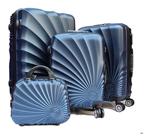 R.Leone Valigia da 1 pezzo Fino a Set 4 Trolley Rigido grande, medio, bagaglio a mano e beauty case 4 ruote in ABS 2092 (Blu, M Media)