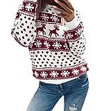 Hirolan Weihnachtspullover Damen Sweatshirt Weihnachtskleid Pullikleid Hoodie Strickshirt Elch Druchen Frauen Ren Schneeflocken lange Strickjacke Oberseite Blumen Bluse (Rot, S)
