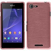 Funda de silicona para Sony Xperia E3 - brushed rosa - Cover PhoneNatic Cubierta + protector de pantalla
