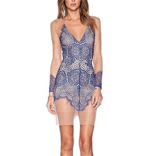 Point de vue Astuce Femmes Robe IHRKleid® Mesdames Point de vue Couleur de contraste Astuce Collage Filé Robe Bleu