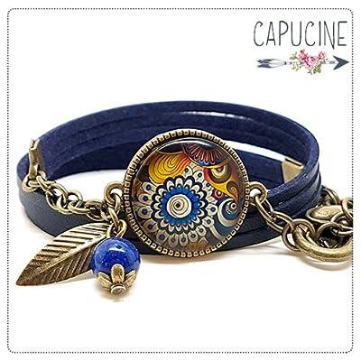 Bracelet fleurs colorées bleu marine avec cabochon verre - Bracelet breloques bronze - Bracelet multi-rangs - Fleurs Psychédéliques - idée cadeau Noël, anniversaire, Saint valentin, fête des mères