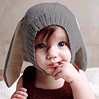 Ins Children Hat Hat Innovative Animal Shape Sombrero de Lana Soft Warm Cute Orejas de Conejo Sombrero de punto Baby Autumn and Winter Hat/Gray