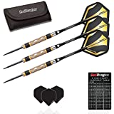 Red Dragon Golden Eyes 22g, 24g, 26g, 28g, 30g or 32g Tungsten Darts (Steel Dartpfeile) mit Flights, Schäfte, Brieftasche & Red Dragon Checkout Card