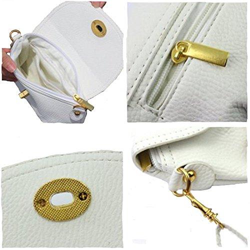 Signore mini bag piccola borsa del messaggero della spalla crossbody, 6 colori bianco