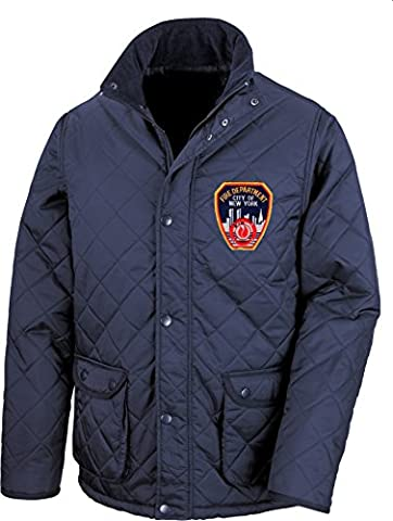 FDNY Quilted Jacket New York City Fire Dept. with Embroidered Standard Emblem blue blue Size:XXL
