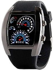 Tongshi Moda Aviación Turbo Dial flash LED Watch Regalo para hombre Señora Deportes metro del coche (Negro)