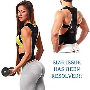Tdas posture corrector back support brace magnetic therapy shoulder belt for men women back pain correction gym workout adjustable size (Black, Medium (M))