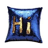 #10: Mahalaxmi Craft Stylish Sequin Mermaid Throw Pillow Cover with Magical Color Changing Reversible Paulette Design Decor Cushion Pillowcase Set of 1(16x16 inch) - Golden & Blue