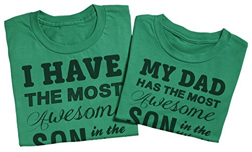Awesome Son - Passende Vater Kind Geschenk-Set - Vater T-Shirt und Kinder T-Shirt Grün