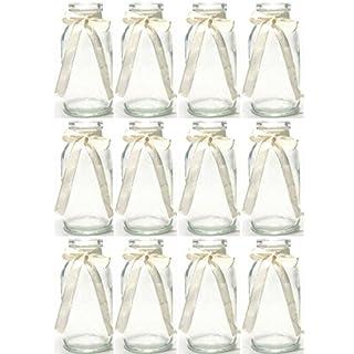 Annastore 12 x Glasfläschchen - Vasen, cremefarbenes Band H 10,5 cm - Glasflaschen Tischvasen Dekoflaschen