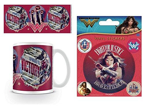 Set: Wonder Woman, Upward to Victory Foto-Tasse Kaffeetasse (9x8 cm) Inklusive 1 Wonder Woman Poster-Sticker Tattoo Aufkleber (12x10 cm)
