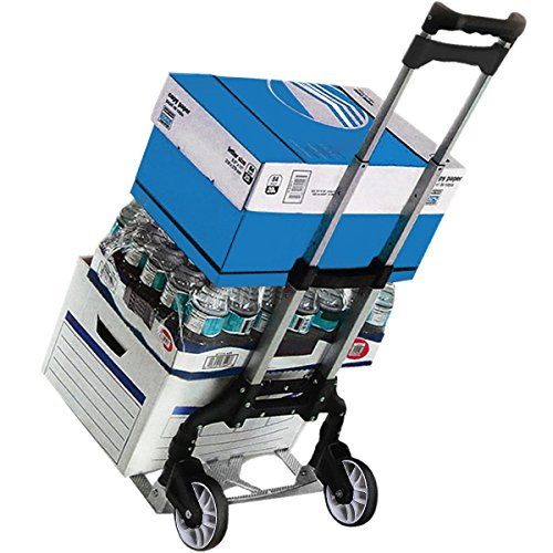 Sackkarre Alu-Gepäckwagen Stapelkarre Handkarre faltbarer Rollen-Einkaufswagen Handkarre Rollwagen Handewagen Transportwagen Trolley bis 80kg (Schwarz) -