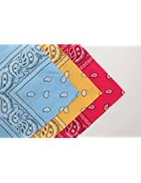 Set of 3 Cotton Paisley Bandanas Light Blue Yellow & Pink (With Love From FlissyTM©)