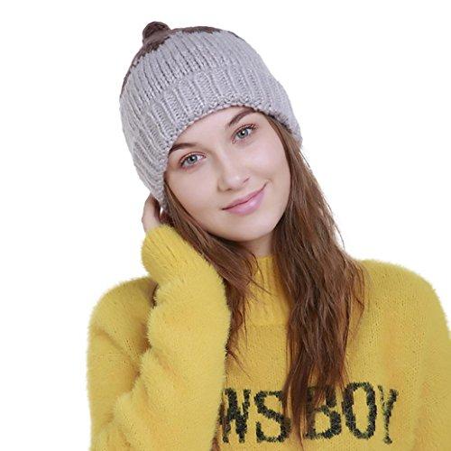 POachers Berretto invernale da donna in lana a blocchi di colore Grigio