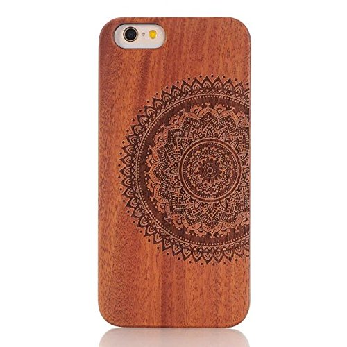 iPhone 7/8 4.7inch wooden Case, Soundmae Real Wooden Handmade Unique Pattern Carving Wood With Hard Plastic Back Skin Case Cover For iPhone 7/8 4.7inch[Mandrake] Mandala