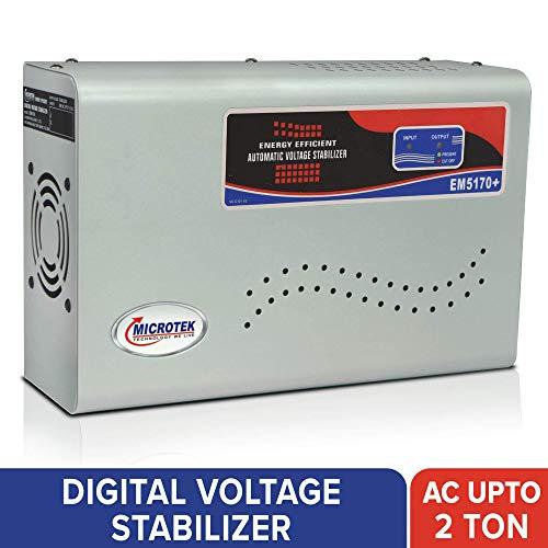 Microtek EM5170+ 170 270V Digital Voltage Stabilizer  Metallic Grey  for AC Upto 2 Ton