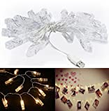chrislz Foto Clip Lichterkette 50 Foto Clips 5 m LED Bild Licht Weihnachten Beleuchtung Starry Licht Wand Hochzeit Party Dekoration Light USB Lichterkette, 50LED