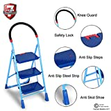 #10: CGS Heavy Duty Safe, Secure and Long Lasting Top 3 Step Folding Home Steel Ladder with 7 Years Warranty