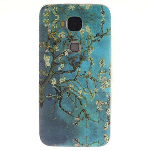 Huawei G8 / G7 Plus Hülle, Hozor Gemaltes Muster Transparent Kante Silikonhülle Ultra Slim Weich TPU Silikon Kratzfeste Handyhülle Schutz Case Backcover - Pflaumenbaum
