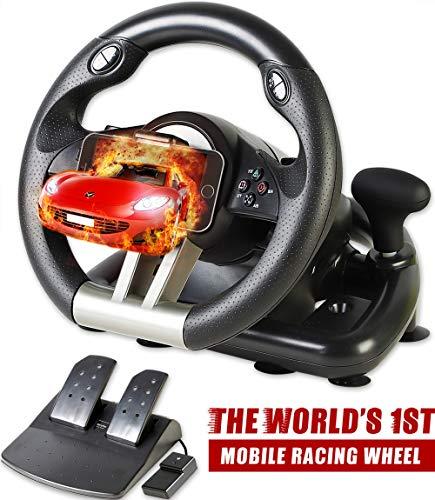 Serafim R1+ Racing Wheel - Gaming Lenkrad mit Responsive Pedal - Kompatibel mit Xbox ONE, PS4, PS3, Switch, PC, iOS, Android - Xbox One Lenkrad, PS4 Lenkrad, PC Gaming Wheel