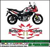 Kit adesivi decal stikers SUZUKI V-STROM DL 650 2012 2016 PARIS DAKAR MARLBORO GASTON RAHIER (ability to customize the colors)