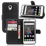 Guran® Housse En Cuir pour Alcatel OneTouch Go Play Smartphone Flip Cover Etui Debout Fonction et Fente Porte-cartes Cas-noir