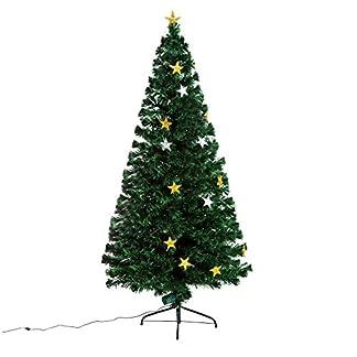 HOMCOM Árbol de Navidad Artificial Árboles de Abeto 180cm con Soporte Decoraciones Navideñas Copos de Nieve Fibra Óptica Brillante LED Multicolor Ignífugo