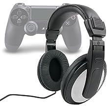 DURAGADGET Auriculares Estéreo Para Playstation 4 / 3 - En Negro Y Blanco Con Cable De 2 m + Clavija Jack 6.5 mm