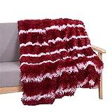 GODGETS Kuscheldecke Tagesdecke TV Decke Klimaanlage Decke Sofa Decke Für Geschenke Warme und Weiche Decke Weinrot 130×160 cm