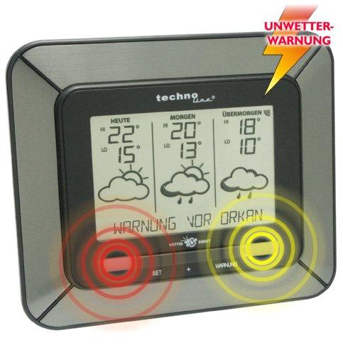 Technoline WD 4930 satellitengestützte Wetterstation mit Innen/Außentemperaturanzeige, Unwetterwarnung, sowie zuverlässige Wettervorhersage für 3 Tage, grau, 17 x 15 x 3,7 cm