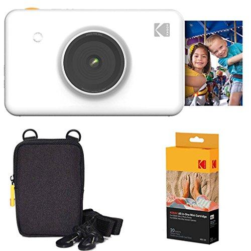 Kodak mini shot stampante fotografica istantanea (bianco) confezione base + carta fotografica (20 fogli) + custodia deluxe