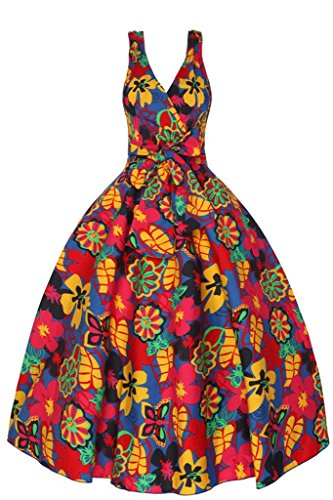 Femmes Années 1950 Rétro Vintage Pop Art Funky Floral Swing Part Robe Jaune