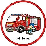 Tortenaufleger Feuerwehrauto1 mit Wunschtext / 20 cm Ø