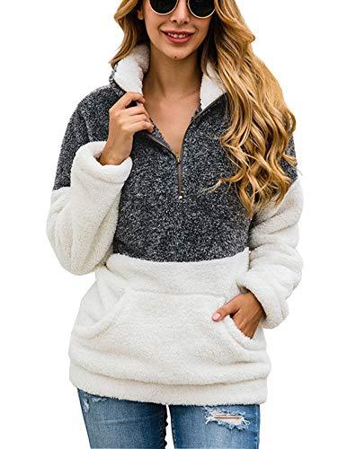 TEMOFON Damen Langarm Reißverschluss Casual Kapuzen-Sweatshirt, Sherpa-Pullover, Winter-Outwear Jacken, Mäntel, Pullover S-XL - Grau - X-Groß -