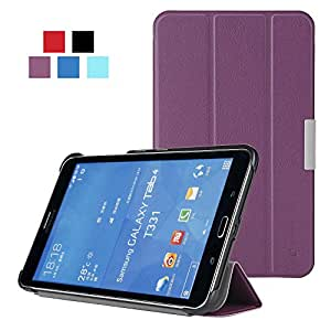 Leafbook Samsung Galaxy Tab 4 8.0 (8-Inch) Smart Shell Case - Ultra Slim Lightweight Stand Cover with Auto Sleep/Wake Feature, Purple