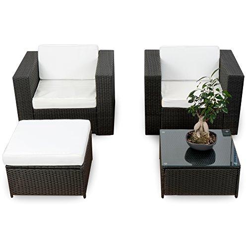XINRO erweiterbares 10tlg. Balkon Garten Lounge Set Polyrattan - schwarz - Sitzgruppe Garnitur...