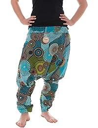 Vishes – alternative Bekleidung – Haremshose warm aus Baumwolle - bedruckt und bestickt - lange Einheitsgröße 36-44
