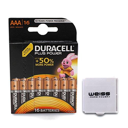 16er-Blister DURACELL Plus Power Batterie AAA/Micro Batterien Plus Batterieschutzbox von Weiss - More Power + Duracell Plus Power Batterie