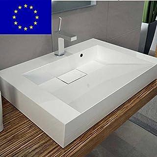 Design Waschbecken 70cm zur Wandmontage oder als Aufsatzwaschbecken aus Mineralguss   70x50x12cm   Made in EU   hochwertig verarbeitet