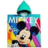 Unbekannt Badeponcho / Kapuzenhandtuch - Disney Mickey Mouse - 100 % Baumwolle - 60 cm * 120 cm - 2 bis 8 Jahre Poncho - mit Kapuze - Frottee / Velours - Handtuch S..