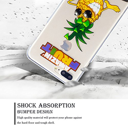 Coque iPhone 7 Plus, Coque Silicone pour iPhone 7 Plus, SpiritSun Etui Coque TPU Slim Bumper Souple Silicone Etui Coque de Protection Clair Transparente Coque Housse Flexible Doux Housse Anti Choc Pro Ananas