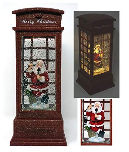 CBK-MS. englische Retro Telefonzelle mit Weihnachtsmann Glitter Timer LED-Beleuchtung Batteriebetrieb