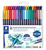 Staedtler Feutres de coloriage aquarellables à double pointe, Pointe pinceau 1-6 mm et pointe fine...