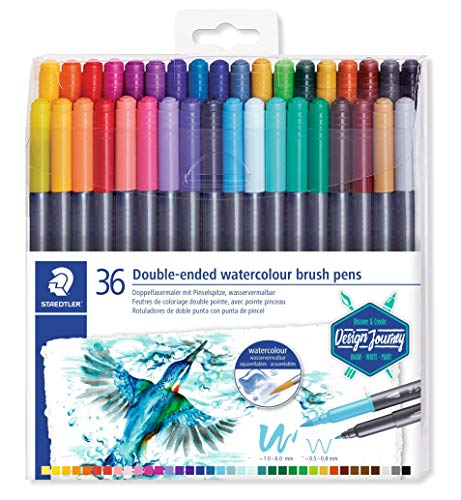 STAEDTLER 3001 TB18 - Rotuladores de Acuarela (Punta Doble), Color Assorted 36 Unidades
